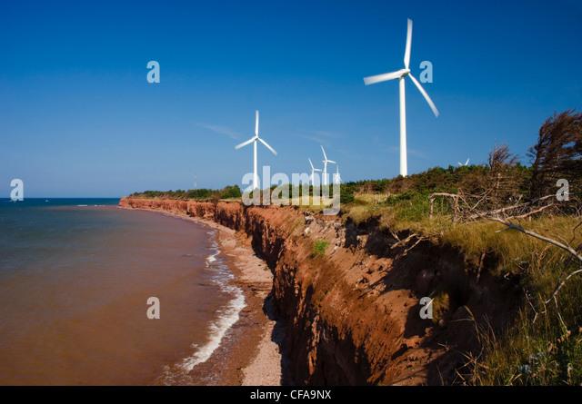 Wind Turbines/Power Generators. Alternate Energy Source. North Cape, Prince Edward Island, Canada. - Stock Image