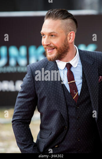 London, UK. 13 July 2017. Actor Tom Hardy arrives for the World Premiere of the Christopher Nolan film Dunkirk in - Stock Image