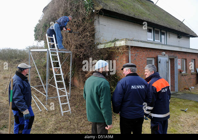 Employees of the Lower Saxony Water Management, Coastal Defence and Nature Conservation Agency (NLWK), clear years - Stock Image