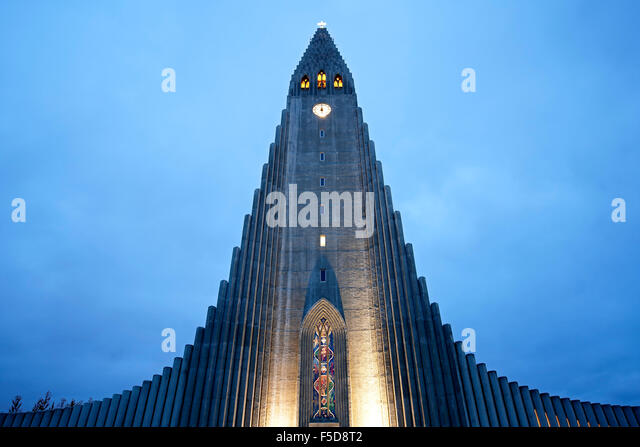 Hallgrims Church (Hallgrimskirkja by State Architect Guðjón Samúelsson), Reykjavik, Iceland - Stock Image