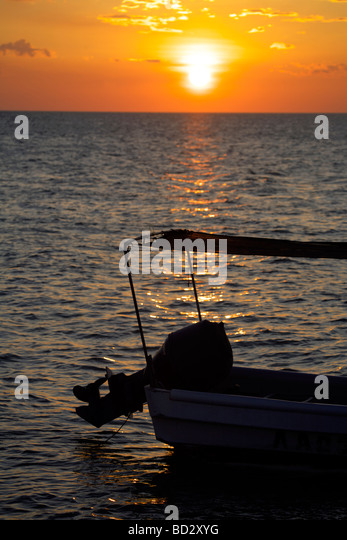 Sunset over Holbox Island, Quintana Roo, Yucatán Peninsula, Mexico, a unique Mexican destination in the Yucatan - Stock Image