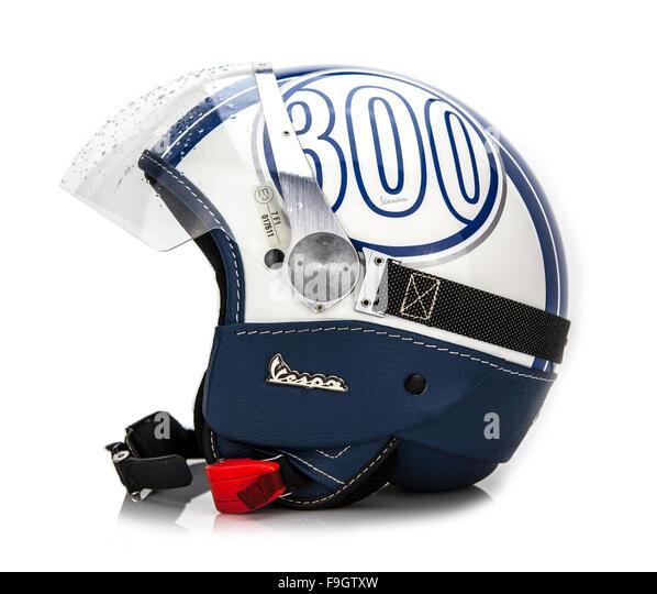 Vespa 300 logo Crash Helmet shot in studio on a white background - Stock Image