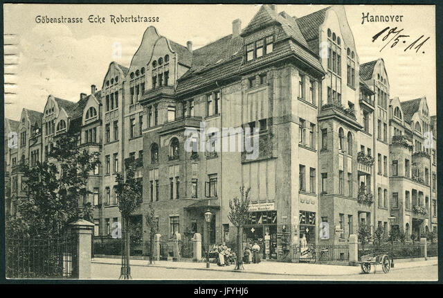 F. Astholz jun. AK 1300 Göbenstraße Ecke Robertstraße Hannover, Bildseite ... Farben Colonialwaren - Stock Image