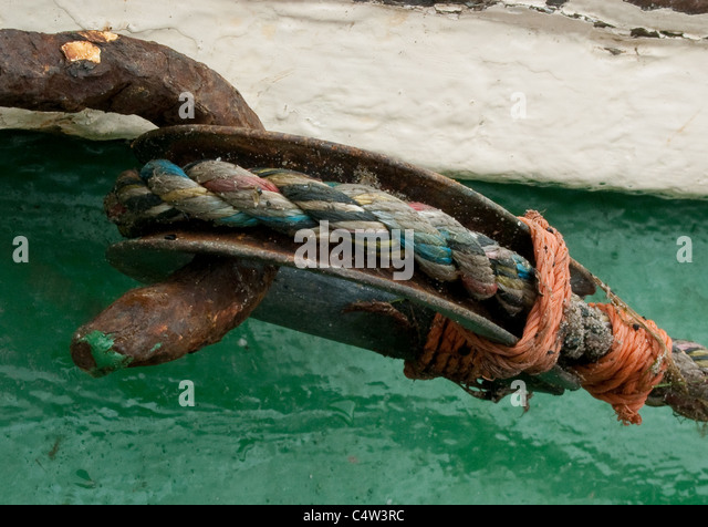 Detail of fishing boat equipment - Stock Image