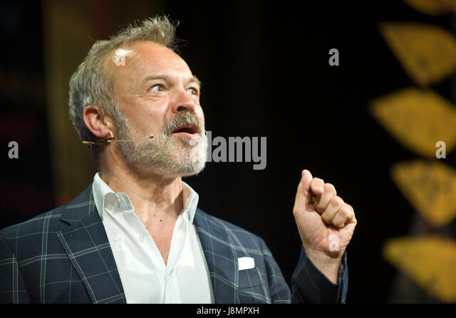 Graham Norton novelist author and entertainer speaking on stage at Hay Festival 2017 Hay-on-Wye Powys Wales UK - Stock Image