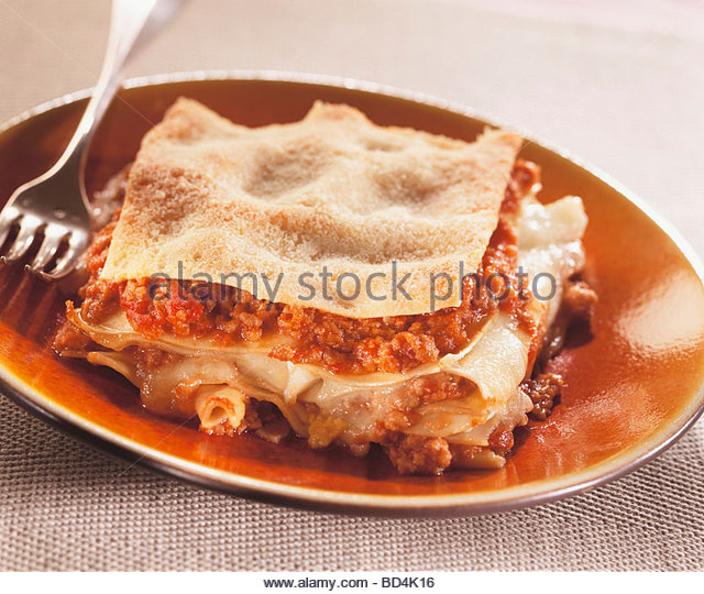 Lasagne with mince - Stock Image