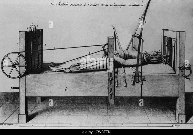 Female patient strapped into an orthopedic bed, with braces and cranks to apply traction. From 1827 French medical - Stock Image