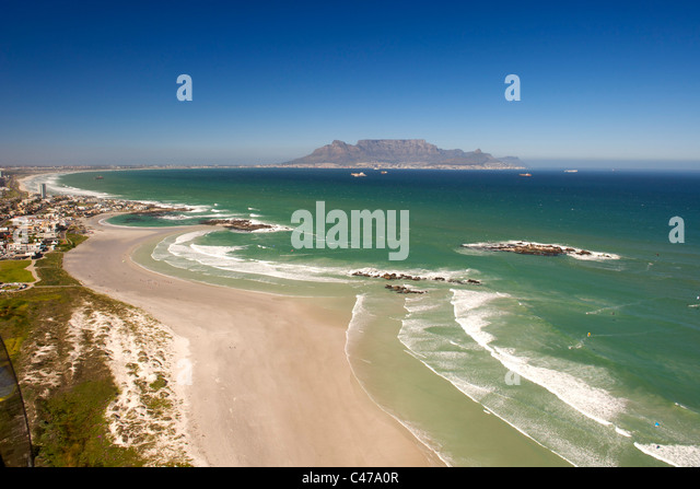 Aerial view looking south along the west coast north of Cape Town in South Africa. - Stock Image