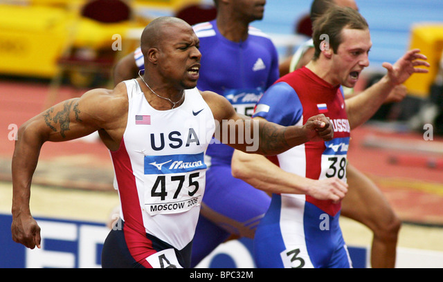 Men's 60m race event at 2006 World Indoor Track & Field Championships in Moscow - Stock Image