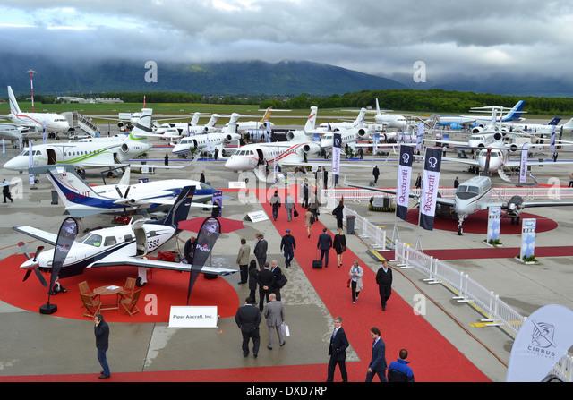 Aircraft at the 2013 Ebace exhibition at Geneva International Airport, Switzerland. - Stock Image