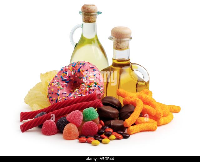 unhealthy junk foods - Stock Image