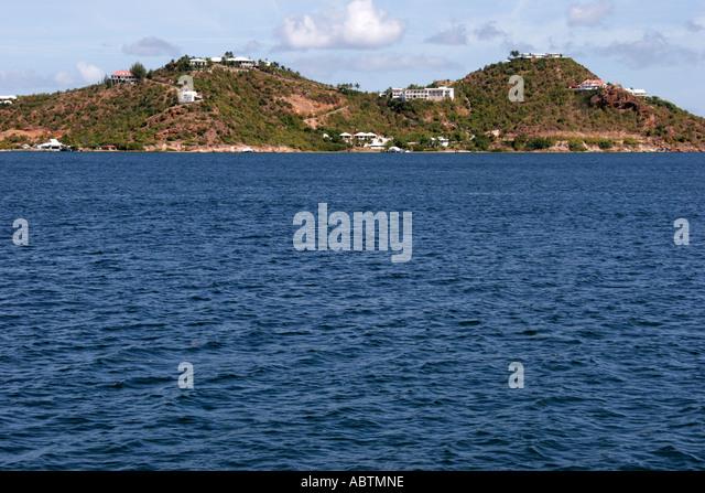 Saint Martin French Simpson Bay Lagoon hill houses - Stock Image