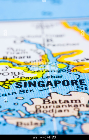 a close up shot of Singapore on map, asia. - Stock Image