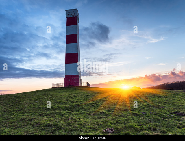 Sunset at the Gribbin Head lighthouse in Cornwall - Stock-Bilder