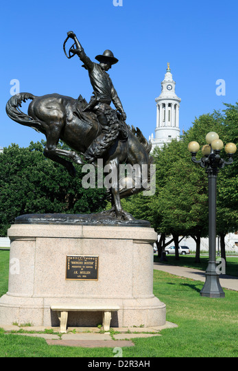 Broncho Buster sculpture in the Civic Center Cultural Complex, Denver, Colorado, United States of America, North - Stock Image