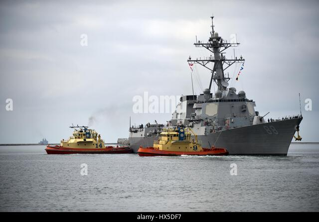 The Arleigh Burke-class guided-missile destroyer USS Preble departs Naval Base San Diego for a scheduled underway, - Stock Image