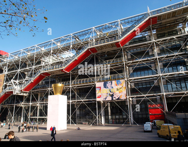 The Postmodern Centre Georges Pompidou houses the Bibliothèque publique d'information and the Musée - Stock Image