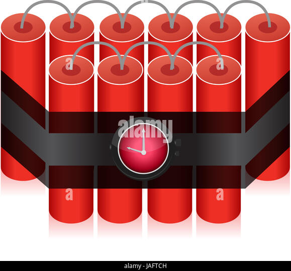 Countdown Time Bomb - Dynamite illustration design isolated over white - Stock Image