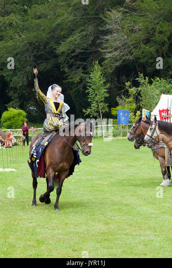 Jousting re-enactmentsat Arundel Castle, Sussex, England - Stock Image