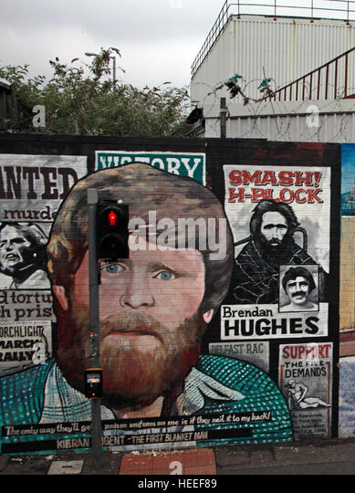Belfast Falls Rd Republican Mural - Brendan Hughes Smash The H-Block - Stock Image