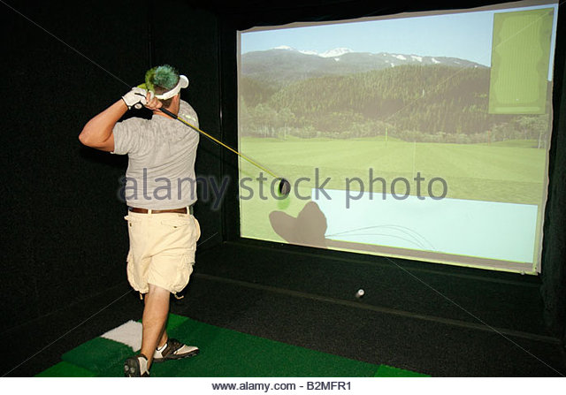 Indiana Valparaiso Creekside Golf Course and Training Center Department of Parks and Recreation man swing club drive - Stock Image