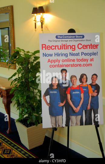Boston Massachusetts Boston Marriott Peabody hotel lobby sign job fair recruiting center The Container Store hiring - Stock Image