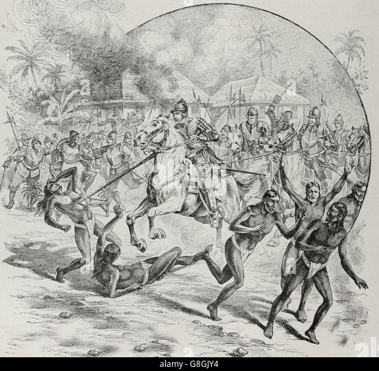 Slaughter of the Xaraguans and capture of their Queen, during Christopher Columbus time - Stock-Bilder