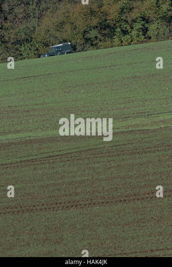 Land Rover vehicle seen in distance across a sprouting cereal crop field. - Stock Image
