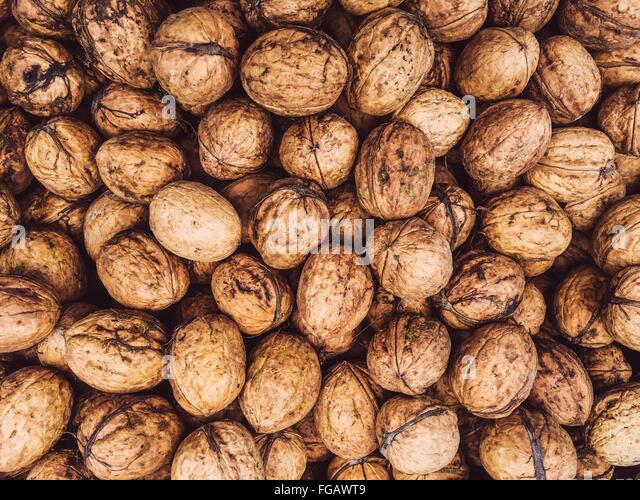 Full Frame Shot Of Walnuts - Stock-Bilder