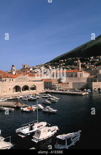 Dubrovnik Croatia Old Town Walled City Harbor and Boats - Stock Image