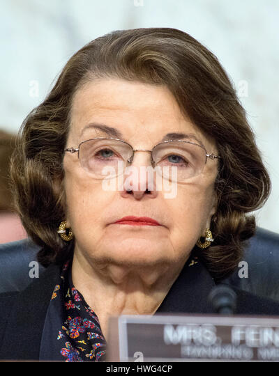 Washington DC, USA. 21st March 2017. United States Senator Dianne Feinstein (Democrat of California) listens as - Stock Image