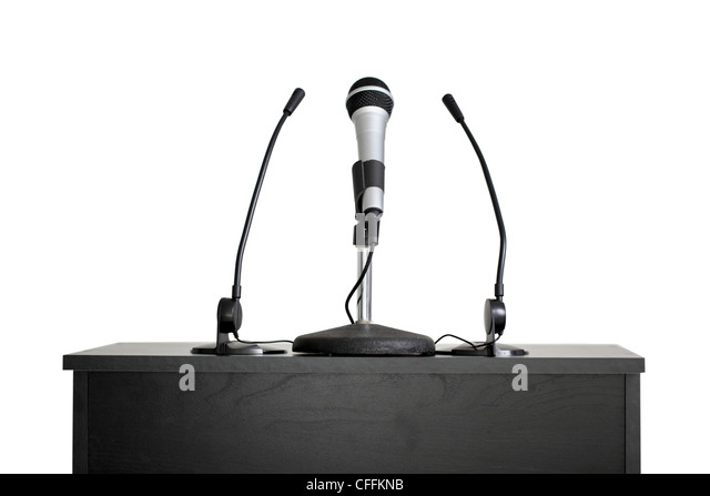 Podium with microphones, cut out on white background - Stock Image