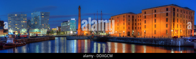 Dusk at the Albert Dock waterfront wide angle panorama Liverpool docks Merseyside England UK L3 4AA - Stock Image