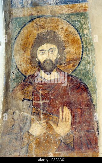 Saint Adrian. Artist: Ancient Russian frescos - Stock Image