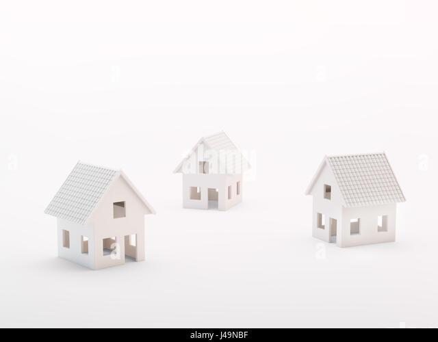 Three small model houses - real estate concept 3d illustration - Stock-Bilder
