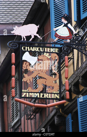 wrought iron sign colmar alsace france - Stock Image