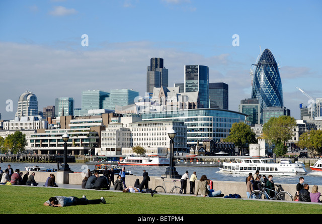 The City of London financial district seen from south of the river Thames. London. Britain. UK - Stock Image