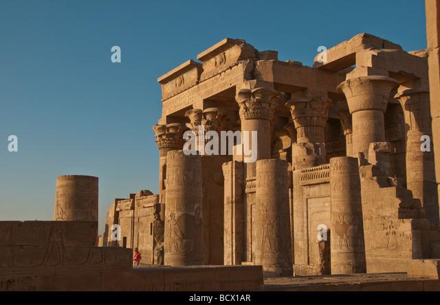 Egypt Kom Ombo temple two gateways right to sobek left to horus - Stock Image