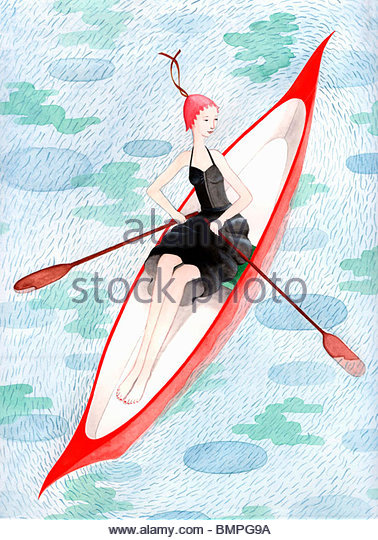 Well-dressed woman in rowboat - Stock Image