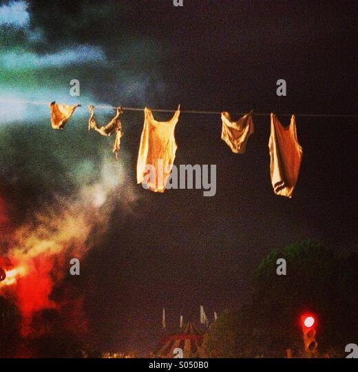 Clothesline, Block 9, Glastonbury Festival - Stock Image