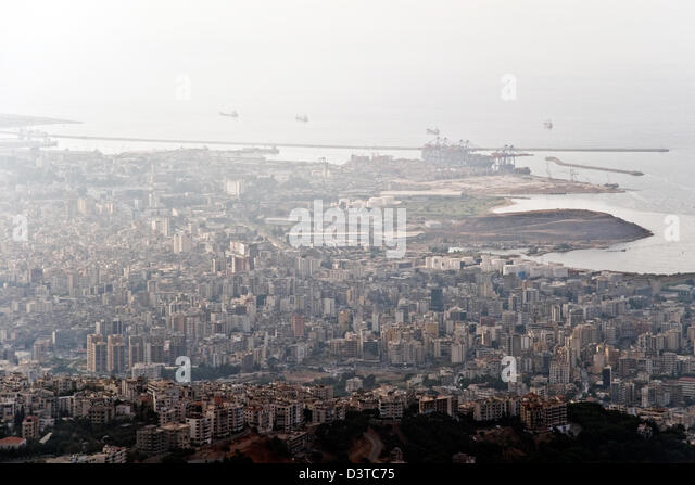 An aerial view of ships entering an exiting the Lebanese port of Beirut, in Lebanon. - Stock Image