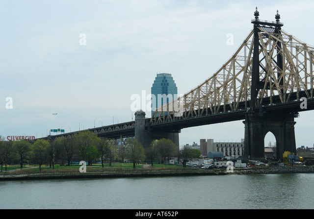 CitiBank Building and Queensboro Queensborough Bridge in Queens New York City USA - Stock Image