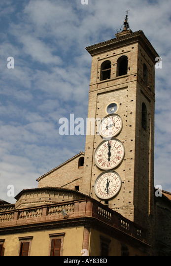 Rare triple faced clock tower in historic city of Tolentino in Le Marche ,the Marches, Italy - Stock Image