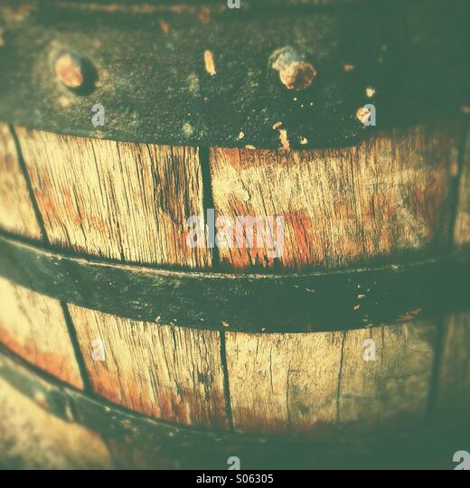 Old wine barrel close up - Stock Image