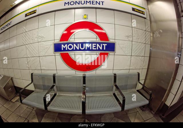 Monument, Metro Station, Tube, London , United Kingdom - Stock Image