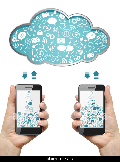 Mobile phones in female hands download information from cloud isolated on white. Cloud computing concept. - Stock Image