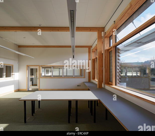 Unfurnished office floor. Herefordshire Archives, Hereford, United Kingdom. Architect: Architype Limited, 2015. - Stock Image