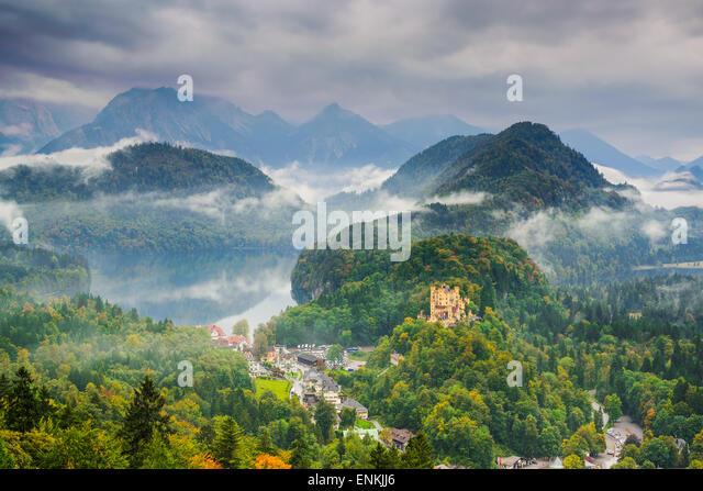 the Bavarian Alps with Hohenschwangau, Germany. - Stock-Bilder