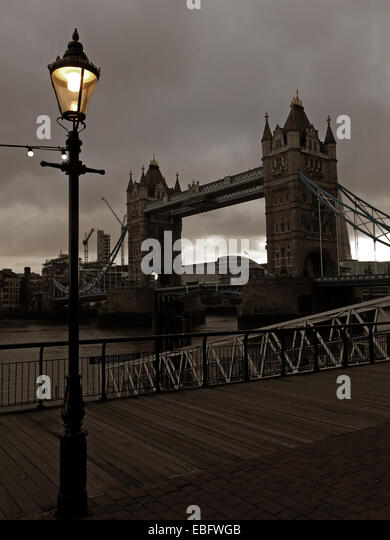 Tower Bridge, River Thames, London at Dusk, England, UK - Stock Image