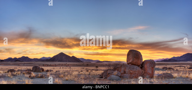 Panoramic of NamibRand Nature Reserve at sunset. Pro Namib Namibia - Stock Image